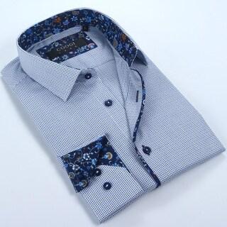 Coogi Mens White/Blue/Navy Dress Shirt