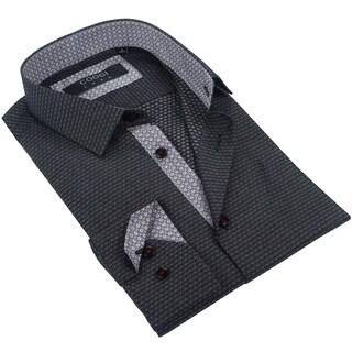 Coogi Mens Black/Grey/Red Patterned Dress Shirt