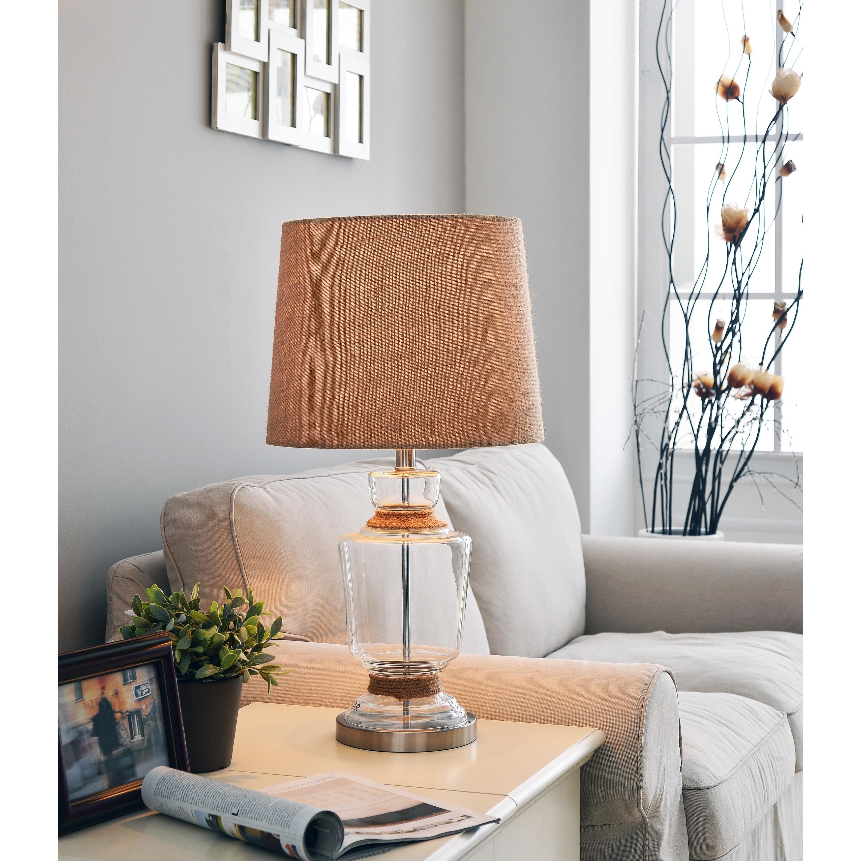 Design Craft Malibu Table Lamp, Brown (Glass)
