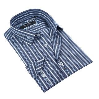 Coogi Mens Chambray/Light Blue Stripe Dress Shirt