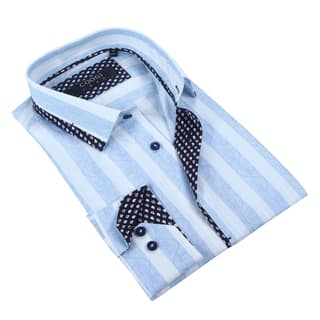 Coogi Mens White/Light Blue w/Paisley Trim Dress Shirt|https://ak1.ostkcdn.com/images/products/12734542/P19513329.jpg?impolicy=medium