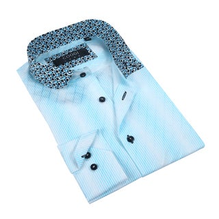 Coogi Mens White/Teal Trim Dress Shirt