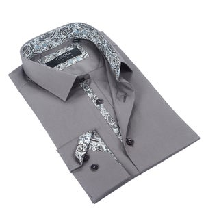 Coogi Mens Solid Grey w/Paisley Trim Dress Shirt