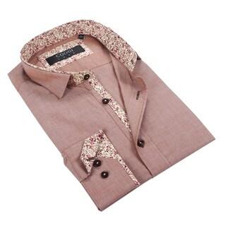 Coogi Mens Solid Brown w/Floral Trim Dress Shirt