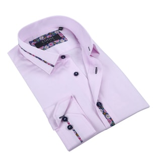 Coogi Mens Solid Pink w/Paisley Dress Shirt