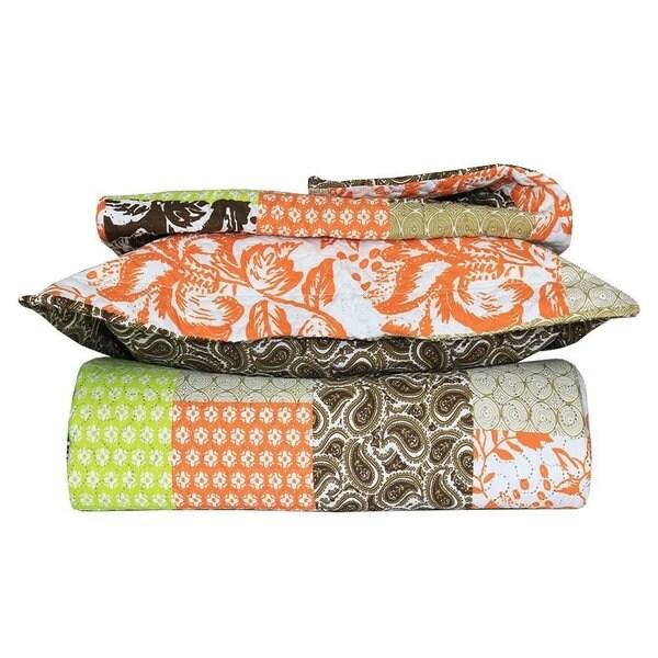 Green and Orange Floral Patchwork 3-piece Quilt Set