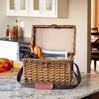 Portland Lined Wicker Picnic Basket Cooler