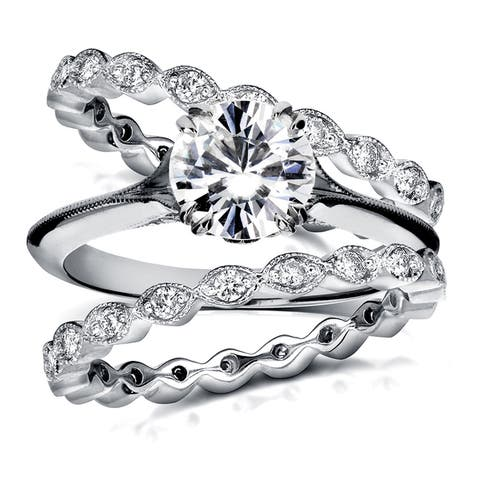 Annello by Kobelli 14k Gold Forever One Moissanite and 3/4ct TDW Diamond Blooming Flower 3-Piece Bri