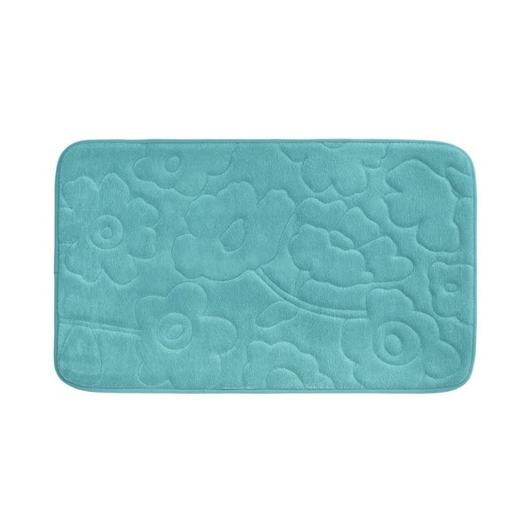 Stencil Floral Memory Foam 17 in. x 24 in. Bath Mat w/ BounceComfort Technology