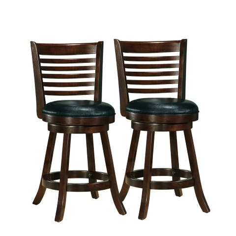 CorLiving Counter Barstool with Black Bonded Leather Seat (Set of 2)
