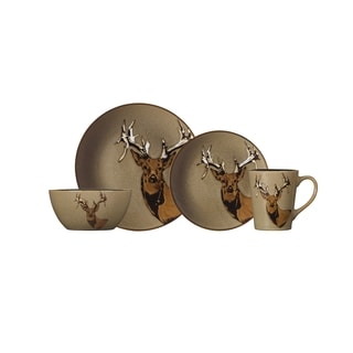 Pfaltzgraff Wildlife White/Tan/Black/Brown Stoneware 16-piece Dinnerware Set