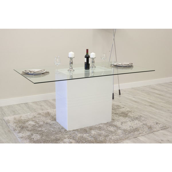 Manhattan Comfort Perry Sleek Tempered Glass Dining Table   Free Shipping  Today   Overstock.com   19513374