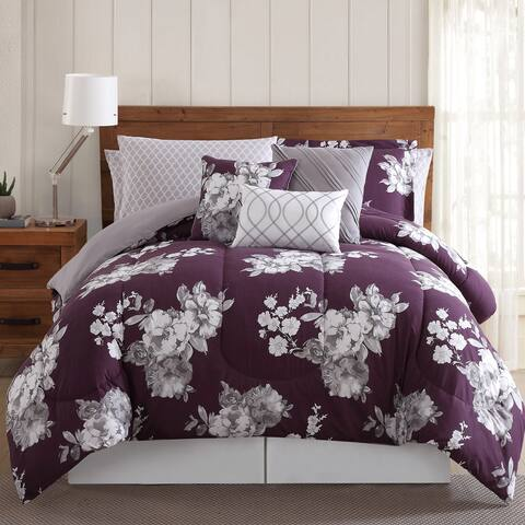 Silver Orchid Tyrone Peony Garden Floral 12-piece Comforter Bed in a Bag