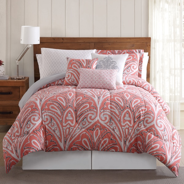 Sedona Damask Floral 12-piece Bed in a Bag Comforter Set with Sheets and Extra Pillowcases