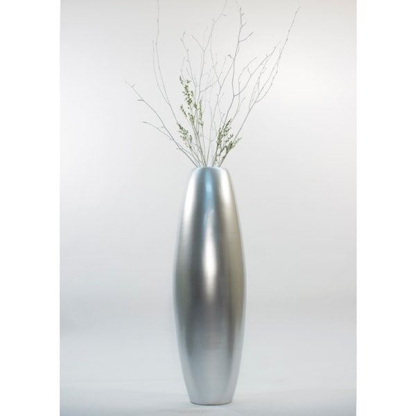 Silver Tone 28 Inch Bamboo Cylinder Floor Vase With Branches Free