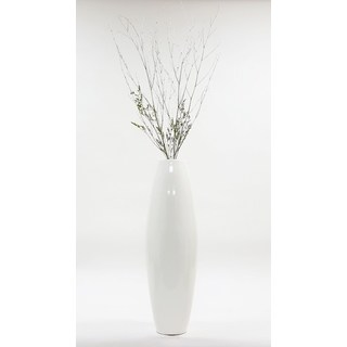 White 28-inch Lacquer Cylinder Floor Vase with Branches