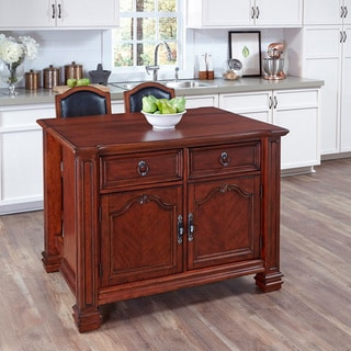 Santiago Kitchen Island with Two Counter Stools