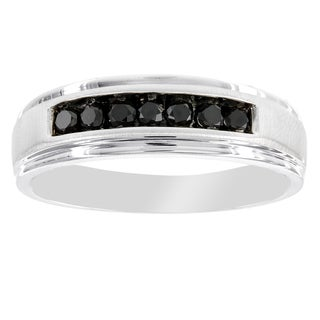 H Star Men's 1/3ct. Black Diamond Wedding Band