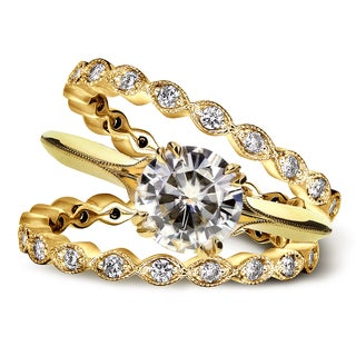 Annello 14k Gold Forever One Moissanite and 3/4ct TDW Diamond Blooming Flower 3-Piece Bridal Rings Set (G-H, I1-I2)