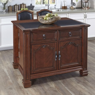 Santiago Kitchen Island with Inset Granite Top and 2 Counter Stools