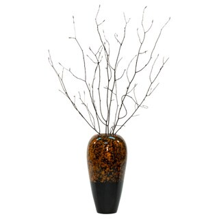 Lacquer Tapered Swirl Bamboo 14-inch Vase and Branches