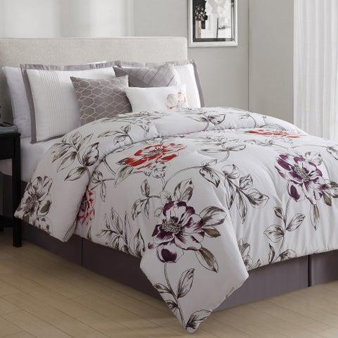 White Birch Sorelle Peonies 7 Piece Comforter Set