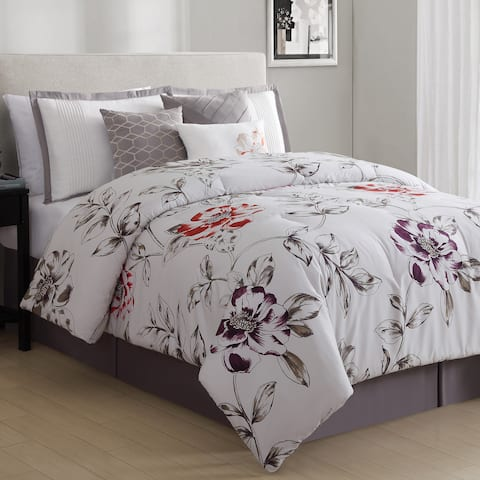 White Birch Sorelle Peonies 7 Piece Comforter Set