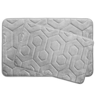 Hexagon Memory Foam 20 in. x 34 in. 2-Piece Bath Mat Set w/ BounceComfort Technology