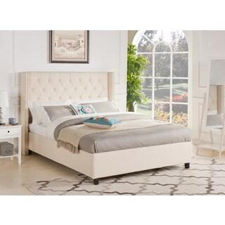 Cassandra Beige Upholstered Diamond Tufted Wingback Queen Bed