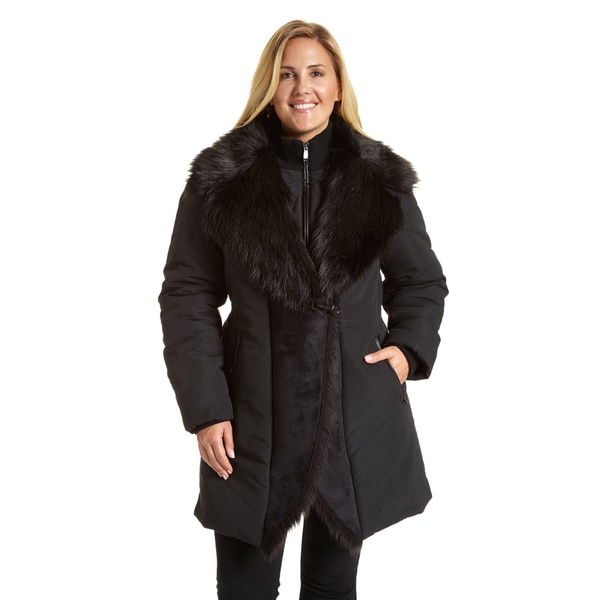 de43388949c Excelled Women  x27 s Plus Size Black Polyester and Faux Shearling Jacket