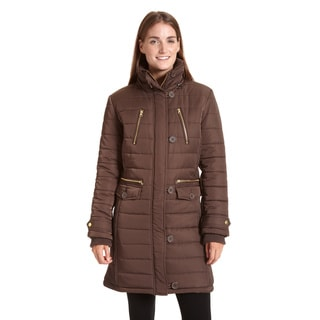 Excelled Women's Black/Brown Polyester and Faux Fur Hooded 3/4-length Puffer Jacket