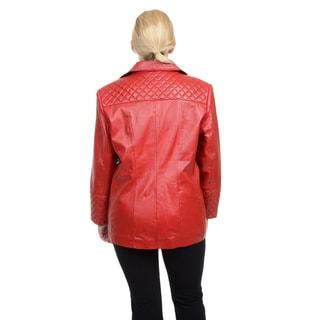 Excelled Women's Plus Leather Lambskin Blazer