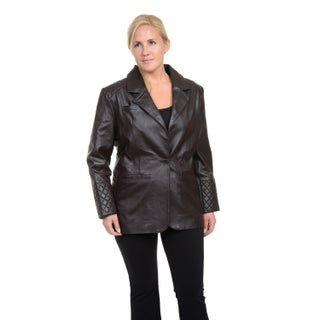 Excelled Women's Plus Leather Lambskin Blazer