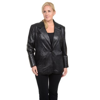 Excelled Women's Red/Black/Brown Leather Lambskin Blazer