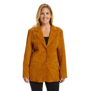 Excelled Women's Suede Plus-size Blazer|https://ak1.ostkcdn.com/images/products/12734798/P19513566.jpg?impolicy=medium