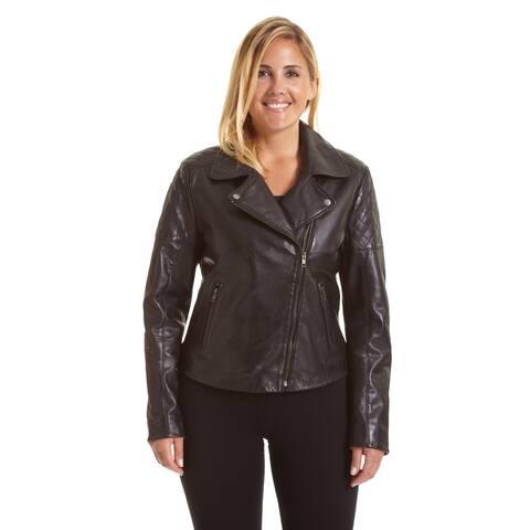 Excelled Women's Plus Size Asymmetrical Notch Collar Moto Jacket