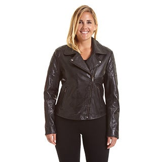 Excelled Women's Plus Size Asymmetrical Notch Collar Moto Jacket