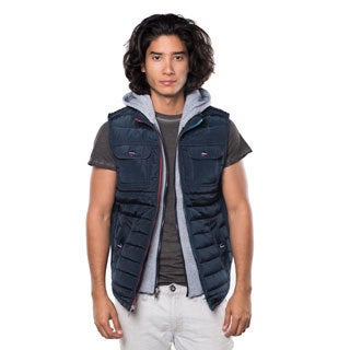 Rock Revolution Men's Blue/Black/Brown Polyester Faux-fur Hoodie Vest