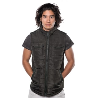 Rock Revolution Men's Quilted Fur-lined Zip-up Vest with Elastic Side Gathering and Front Pockets
