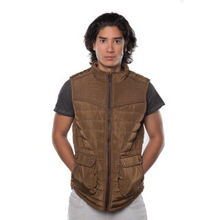 Rock Revolution Men's Blue/Black/Beige/Brown Polyester Quilted Fur-lined Zip-up Vest with Suede Piping