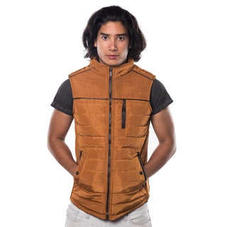 Rock Revolution Men's Quilted Fur Lined Zip Up Vest with Elastic Side Gathering and Front Pockets