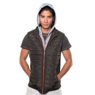 Rock Evolution Men's Quilted Fur Lined Zip Up Layered Hoodie Vest w/ Detachable Hood, Elastic Side Gathering & Front Pockets