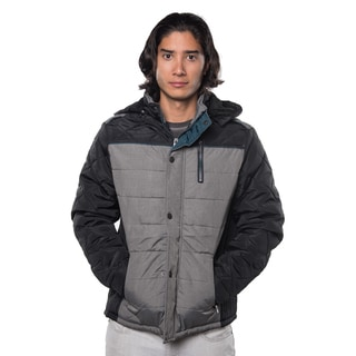 Men's Red/Black Polyester and Faux Fur Quilted Fur-lined Zip-up Jacket with Detachable Hood and Zippered Front Pockets