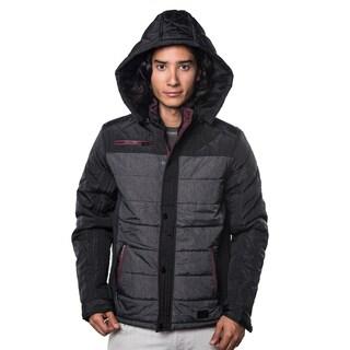 Men's Black/Blue/Brown Polyester Faux-fur Jacket with Detachable Hood