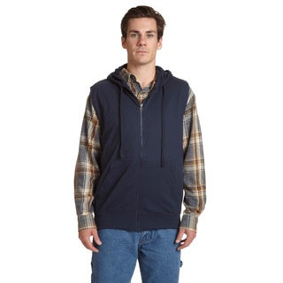 Stanley Men's Blue/Black/Grey Cotton/Polyester Sleeveless Zip Hoodie