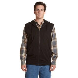 Stanley Men's Blue/Black/Grey Cotton/Polyester Sleeveless Zip Hoodie