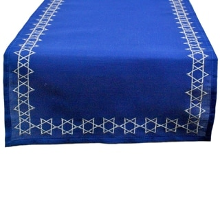 Polyester 14-inch x 70-inch Star of David Embroidered Table Runner