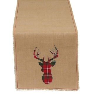 Holiday Stag Burlap Multicolored Linen Table Runner