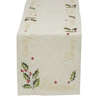 'Merry Christmas' 14-inch x 70-inch Embroidered Table Runner