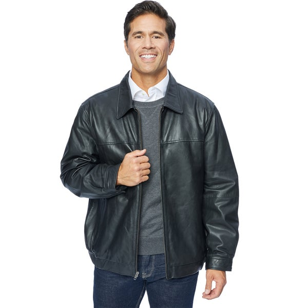 Excelled Mens Leather Shirt Collar Jacket